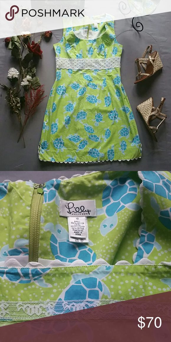 "LILLY PULITZER SEA TURTLE DRESS *SALE IS FOR DRESS ONLY!  *MIA SANDALS SOLD SEPARATELY!  BUNDLE & SAVE! *IN PERFECT CONDITION  *FEEL SUMMER VACATION-Y WHEREVER YOU ARE IN THIS ADORABLE SEA TURTLE PRINT DRESS FROM LILLY *SHELL 100% COTTON  *LINING 65% POLYESTER 35% COTTON  *MACHINE WASHABLE  *BACK ZIP & CLASP CLOSURE  *MEASUREMENTS ARE APPROX & TAKEN LYING FLAT  *BUST 36"" *WAIST 32"" *HIP 40"" *SHOULDER TO HEM 34.5"" *STORED IN NON-SMOKING PET FREE HOME Lilly Pulitzer Dresses"