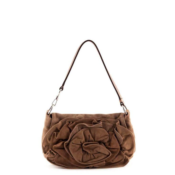 Saint Laurent Brown Suede Nadja Rose Flower Shoulder Bag - LOVE that BAG - Preowned Authentic Designer Handbags - $460 CAD