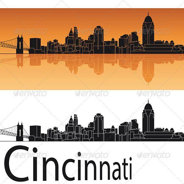 Cincinnati skyline in orange background architecture for Cleveland skyline tattoo