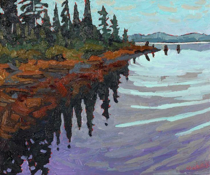 Paddling the west shore of Canoe Lake...