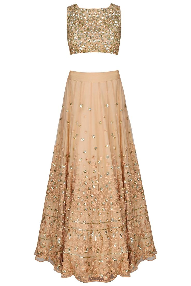 Astha Narang presents Peach and gold thread and sequins floral work lehenga set available only at Pernia's Pop Up Shop.