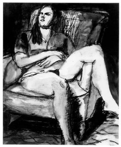 Bischoff, Elmer - Girl in Leather Chair - Bay Area Figurative Movement - Mixed technique - Portrait - Hirshhorn Museum and Sculpture Garden ...