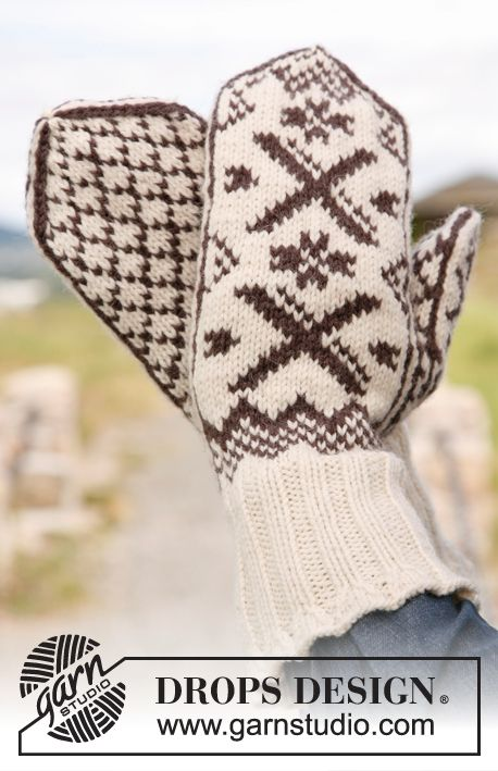 "Christmas gift idea for #dad: Knitted DROPS mittens for men and women with Norwegian pattern in ""Karisma"". ~ DROPS Design"