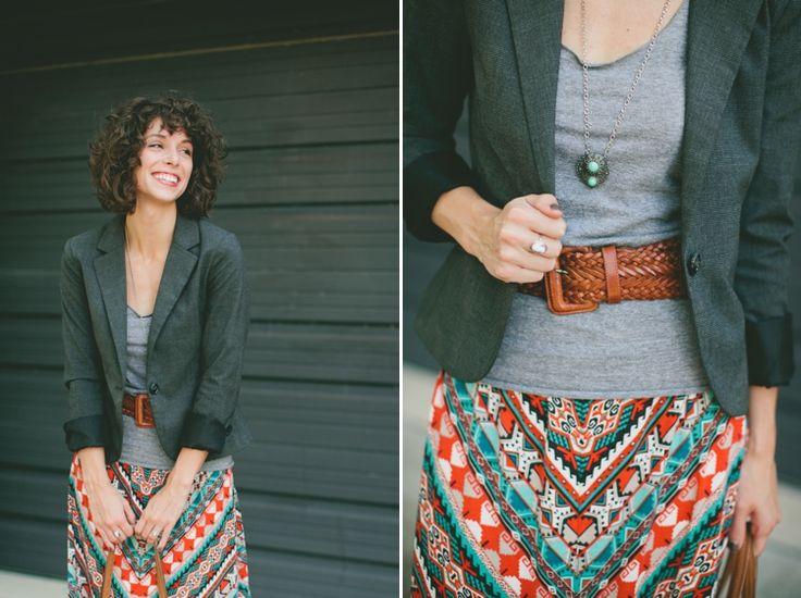 Maxi skirt, blazer and belt