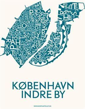 Kortkartellet plakat København indre by i petroleumsblå 50x70 cm.