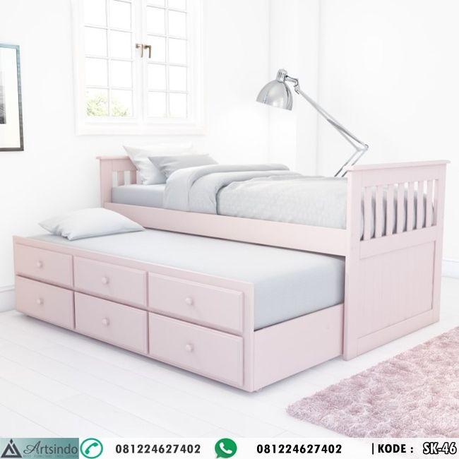 Tempat Tidur Anak Warna Pink Model Sorong Ranjang Anak Murah