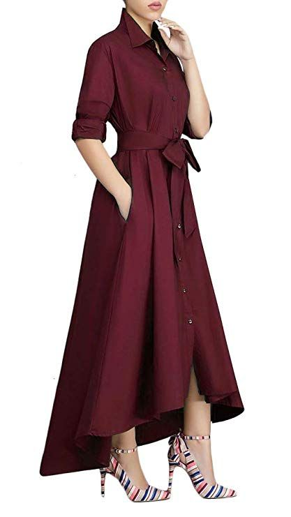 93ff84ccf50 Button Fly closure Female casual front knot open front with button wrap  shirt dresses Features  Button up dresses