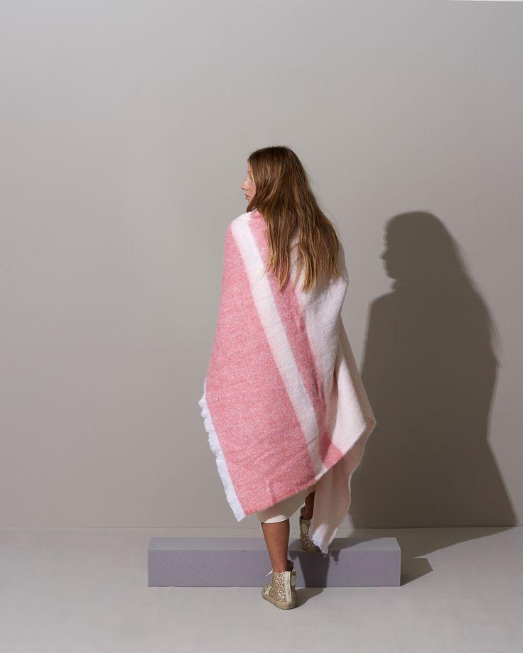 EXHALE Winter 16. Shop here: https://kateandkate.com.au/shop/alpaca-blankets/the-helena-pink-stripe/ // #exhalebykateandkate #interior #inspo #design #pastel #minimalist #baby #bedroom #decor #home #house #blanket #throw #design #fabric #photoshoot #alpaca