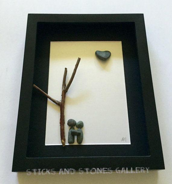 Unique Couple's Engagement Gift Pebble Art Gift por SticksnStone