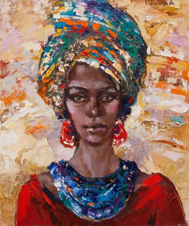 ARTFINDER: African woman portrait painting, Orig... by Anastasiya Valiulina - Modern art original oil female portrait painting. This colorful painting made with brushes and palette knife. It is perfect for the stylish modern interior...