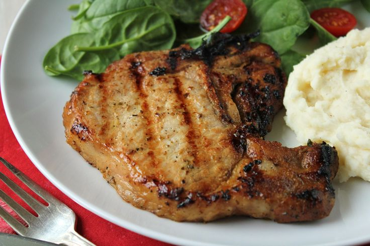 My favorite pork chop marinade. I just skip the brown sugar and it's still delicious!