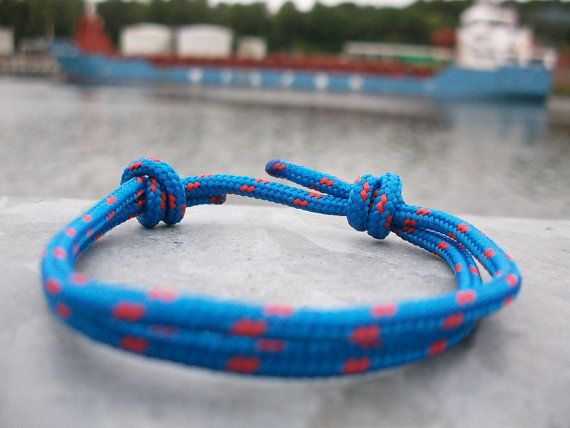 Cord bracelet, blue red 3 mm, sailors bracelet, surf jewellery, climbing rope knots bracelet, surfing sailing climbing