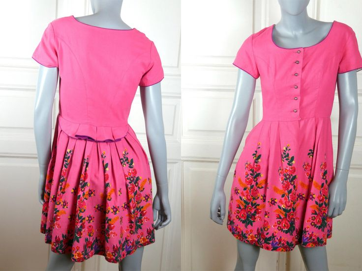 German Vintage Trachten Dress, Pink Floral Traditional Bavarian Summer Short-Sleeve European Festival Dress: Size 6 US, Size 10 UK by YouLookAmazing on Etsy