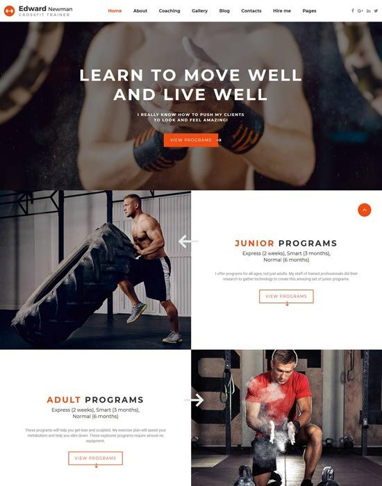 edward newman crossfit trainer multipage website template health