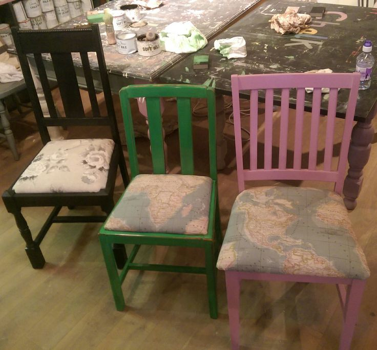 Three lovely ladies' creations on our Chalk's Chair Workshop!