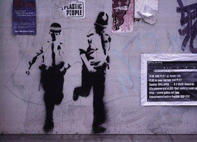 Leg It! Art Print by Banksy