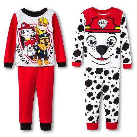 Toddler Boys' Paw Patrol 4-Piece PJ Set - Red