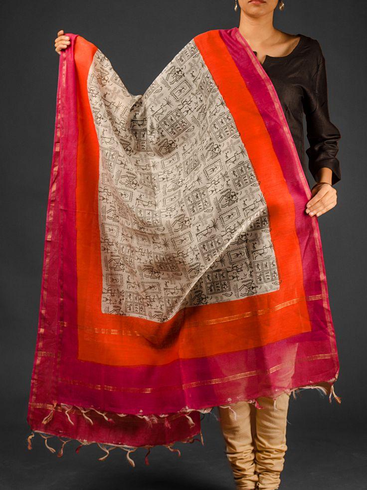 Pink Orange Hand Block Printed Chanderi Dupatta With Zari Available At http://www.eindianaugust.com/dupattas-and-stoles/dupattas/chanderi-dupattas