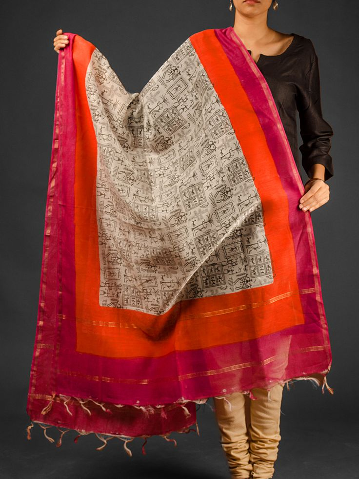 Pink Orange Hand Block Printed Chanderi Dupatta With Zari Available At http://www.eindianaugust.com/dupattas-and-stoles/dupattas/chanderi-dupattas