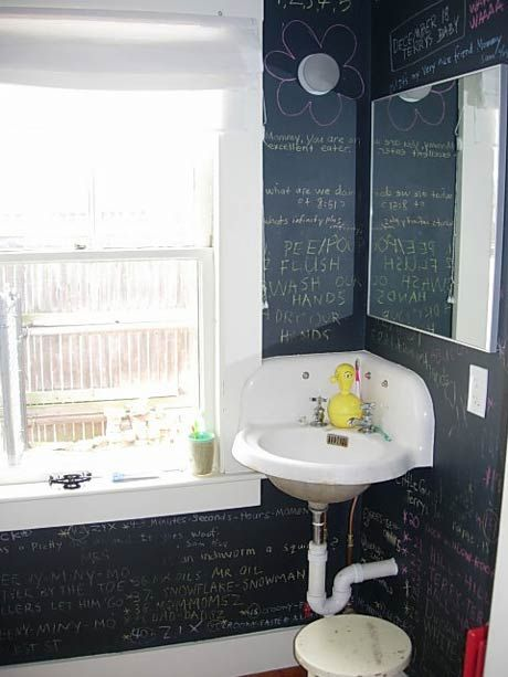 We actually painted the bathroom at Riverside Bar in Mishawaka, IN with chalkboard paint.. People love to write on the walls!