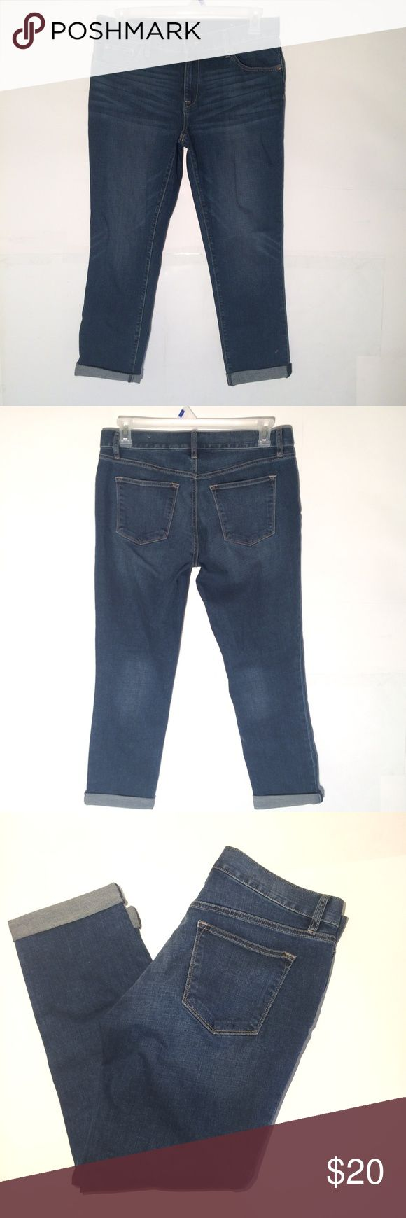 "Ann Taylor Loft SLIM BOYFRIEND Jeans size 6 Ann Taylor Loft SLIM BOYFRIEND stretch jeans. Ladies tagged size 6. Medium wash. Excellent condition. No rips stains or tears. Can be worn cuffed or straight. See measurements below. 98% cotton and 2% spandex. Actual measurements are:  Waist 34""  Inseam 27"" rolled /29"" straight.   Rise 9.5""  Leg openings 14""  Thanks! LOFT Jeans Boyfriend"