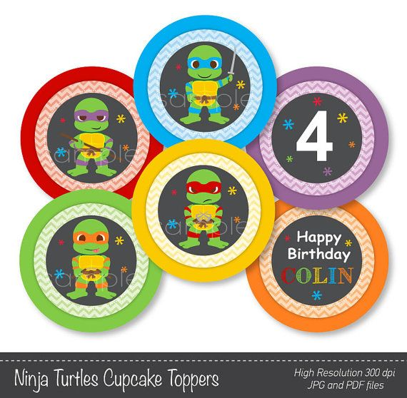Ninja turtles Cupcake Toppers Ninja turtles by funkymushrooms