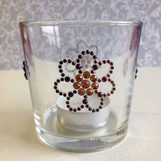 Randis hobbyverden: Lysglass med bling-blomster