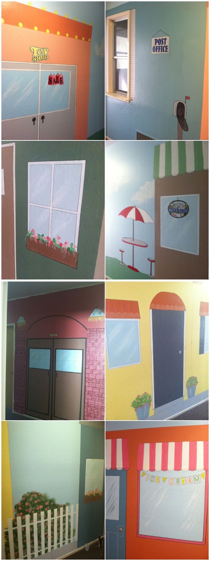 Mural project of approx. 212 ft of hallway space.  Kids town main street with ice cream shop, post office, coffee shop, fire station, toy shop, park space, and houses.