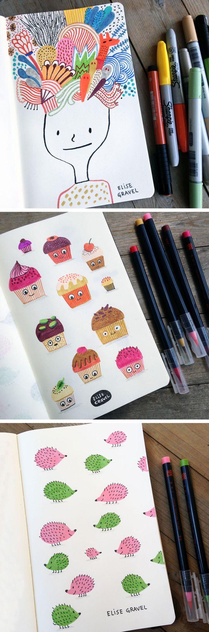 Elise Gravel illustration • sketchbook • notebook • doodles • drawings • art •…