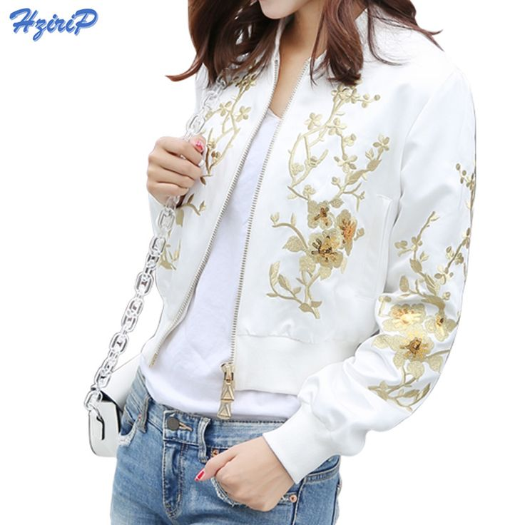 Hzirip 2017 Autumn Plum Embroidery Sequin Short Jackets Women Long Sleeve Streetwear Baseball Clothing Slim Casual Basic Coat #Affiliate