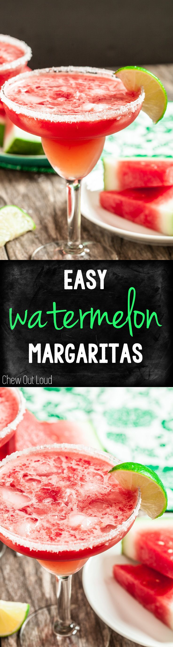 Watermelon Margaritas are simply awesome! Easy, refreshing, and an instant hit. #drinks #cocktails #summer