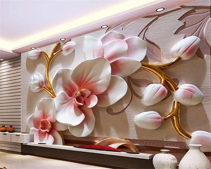 Avikalp photo wallpaper 3D Phalaenopsis relief wall Modern fashion floral decora…