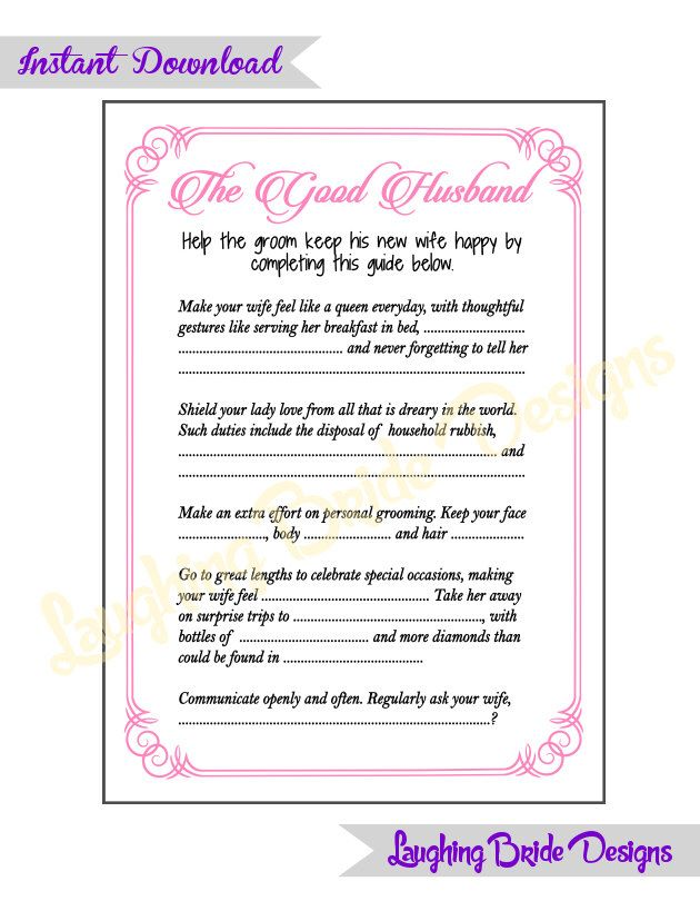The Husband Guide Party game Pink Hen Party Game Bridal Shower Bachelorette Party Game instant download - The Good Husband Guide  purple by LaughingBrideDesigns on Etsy https://www.etsy.com/listing/237754048/the-husband-guide-party-game-pink-hen