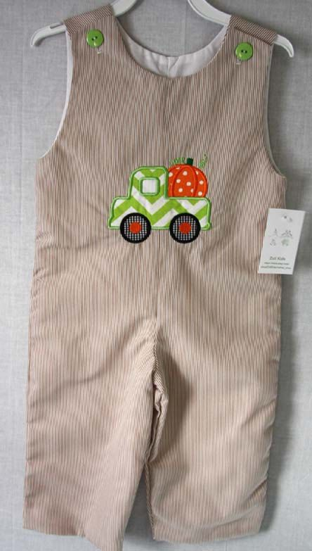 Our baby fall clothes includes this Thanksgiving Clothing for Baby Boy is a Long Jon Jon baby romper in brown baby cord fabric. This little outfit comes