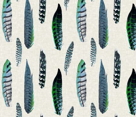 Luxe Feathers In Shades Of Blue And Green Fabric By Sparrowsong On Spoonflower