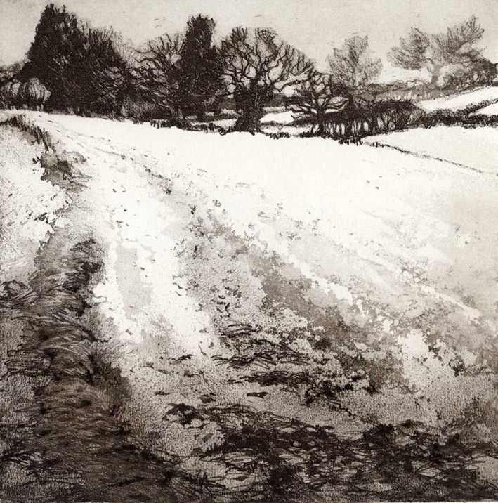 Boxing Day Walk II - http://www.chrissynorman.co.uk/ Chrissy Norman - Artist & Printmaker - Etchings of Suffolk. Monoprints, Monotypes