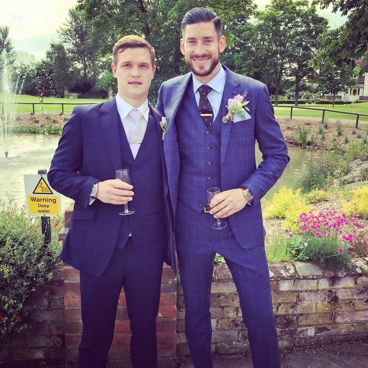 Grooms wedding suit - 3 piece made to measure blue check slim fit ...