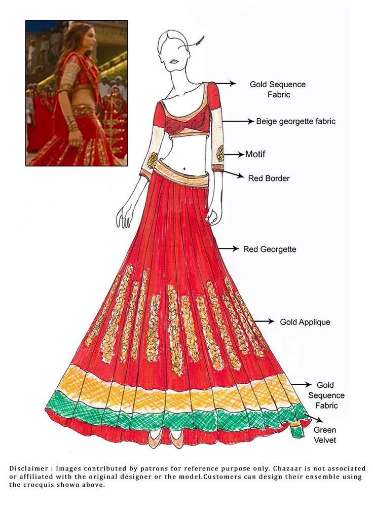 DIY Red Deepika Padukone Ram Leela Lehenga
