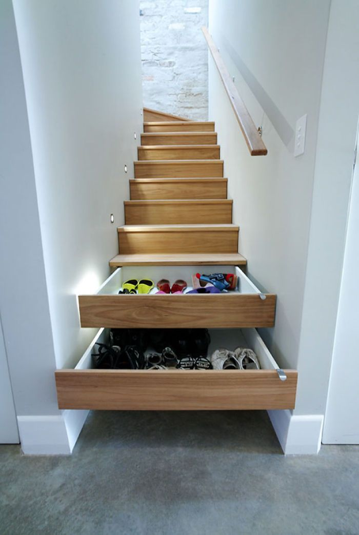 Stair drawer! Perfect organization and to minimize a waste of space!