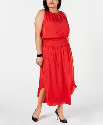 Alfani Plus Size Smocked Satin Midi Dress 3