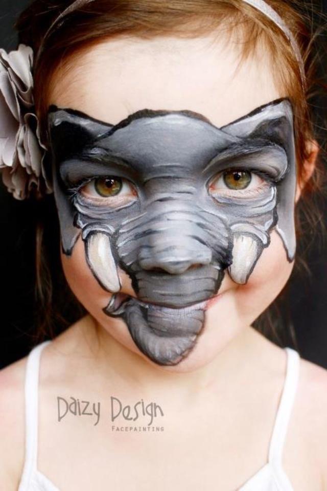 Elephant face paint - Daizy designs