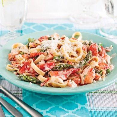 Fettucines au homard et asperges - Soupers de semaine - Recettes 5-15 - Recettes express 5/15 - Pratico Pratiques