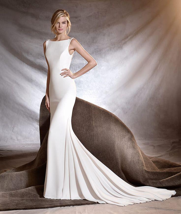 OLALDE - Vestido de noiva estilo sereia com crepe, tule e pedraria