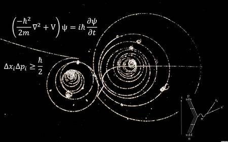On voit ici deux des plus célèbres équations gouvernant le monde quantique. C'est l'équation de Schrödinger (en haut), célèbre en mécanique quantique, avec en dessous l'une des inégalités de Heisenberg. L'image de fond est celle de particules spiralant dans une chambre à bulles plongée dans un champ magnétique. En bas à droite, un diagramme de Feynman illustre la désintégration bêta d'un neutron (n) en proton (p).
