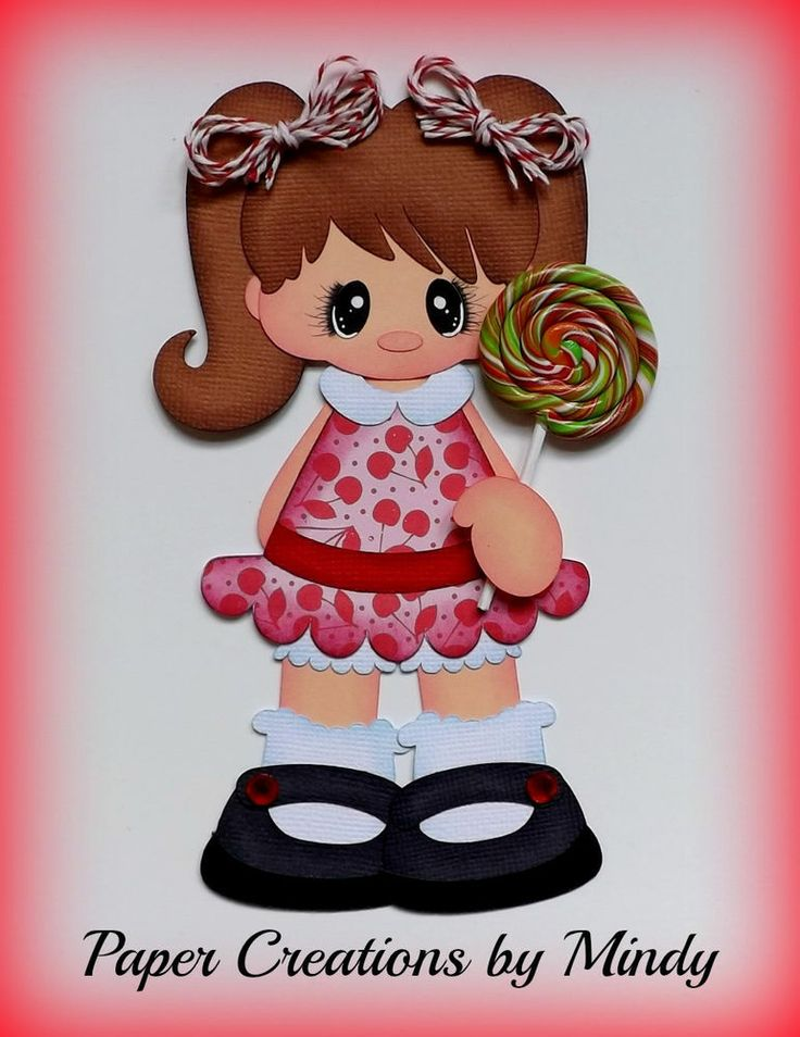 ELITE4U lollipop girl kids cherry premade paper piecing scrapbooking page album ~ DT Mindy