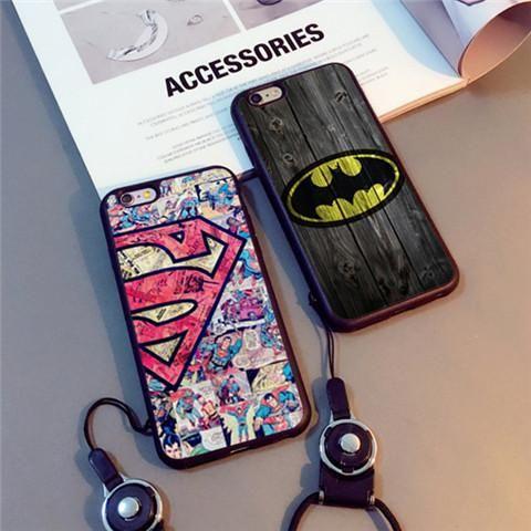 SUPERME シュプリーム 海外 ファションブランド iPhone8/7s/7s plus/7 plus/6s ケース バットマン スーパーマン ストラップ付き個性 鏡面研磨