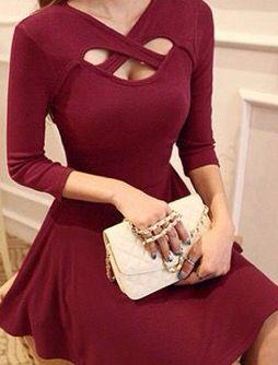 Vestido circular color vino