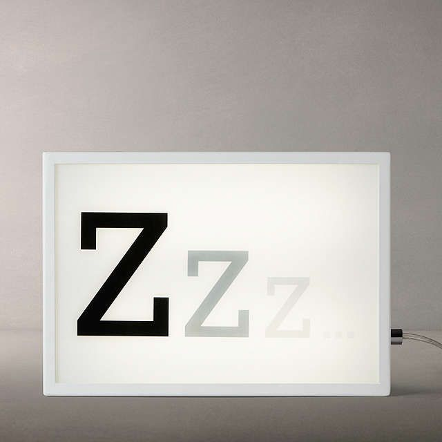 John Lewis Zzz Small LED Light Box, White at John Lewis