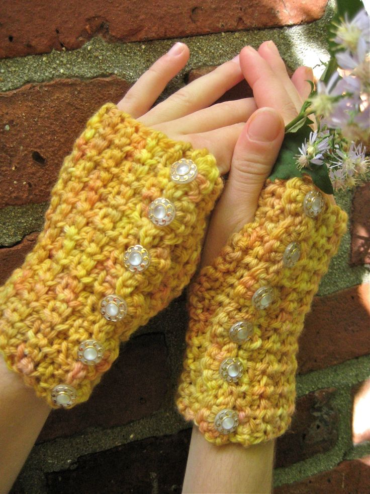 Sunset Pebbles Crocheted Wrist Warmers
