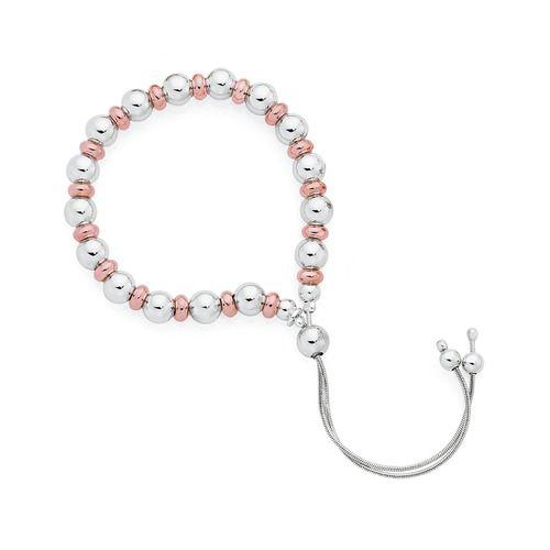 Sterling Silver & Rose Plate Ball Friendship Bracelet